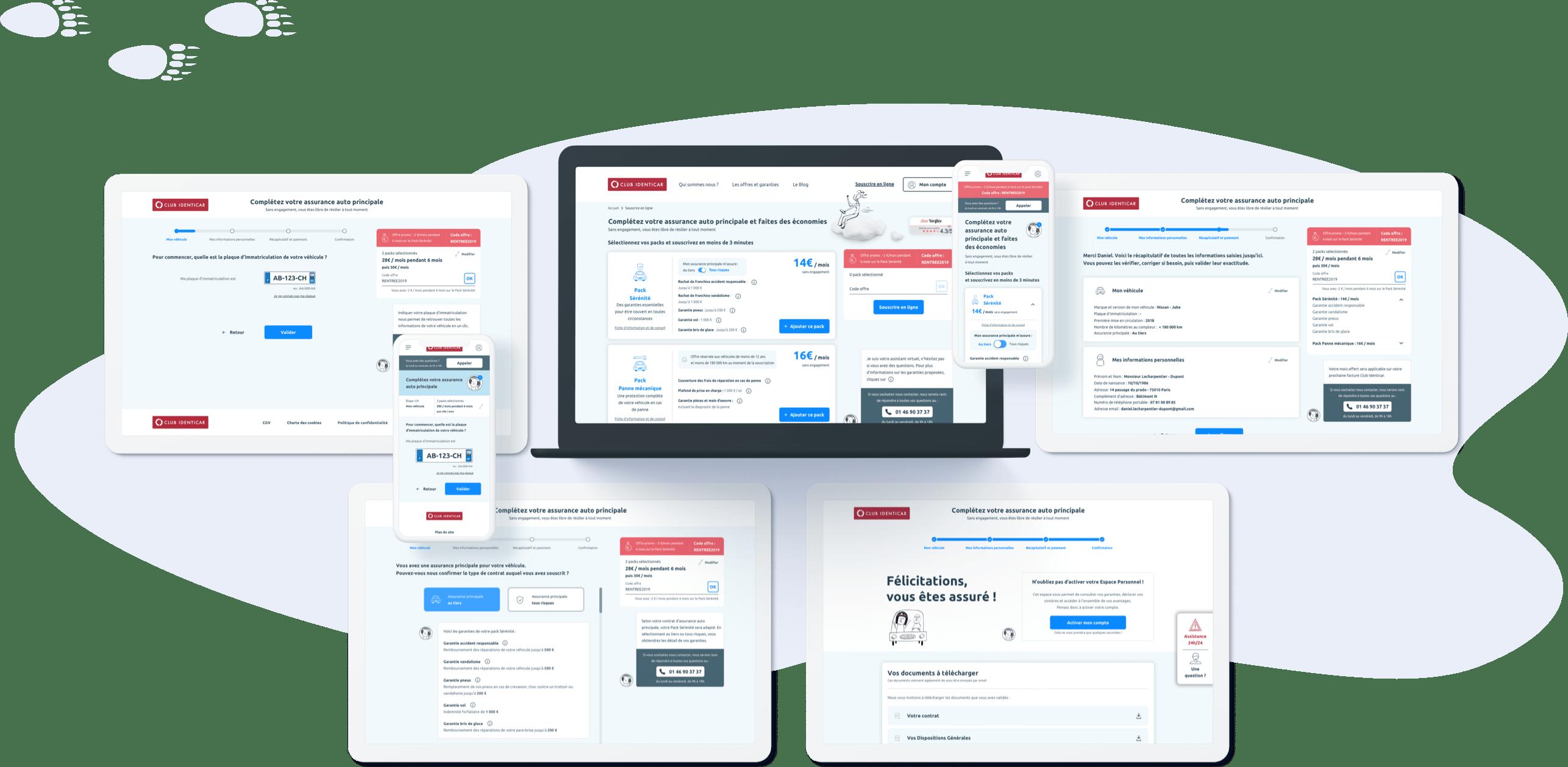 Club Identicar - Conception UI (parcours de vente, desktop et mobile)