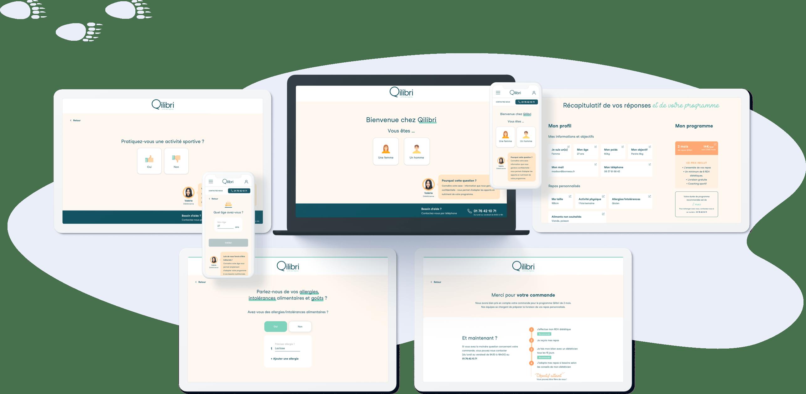 Qilibri - Conception UI parcours de vente (desktop et mobile)