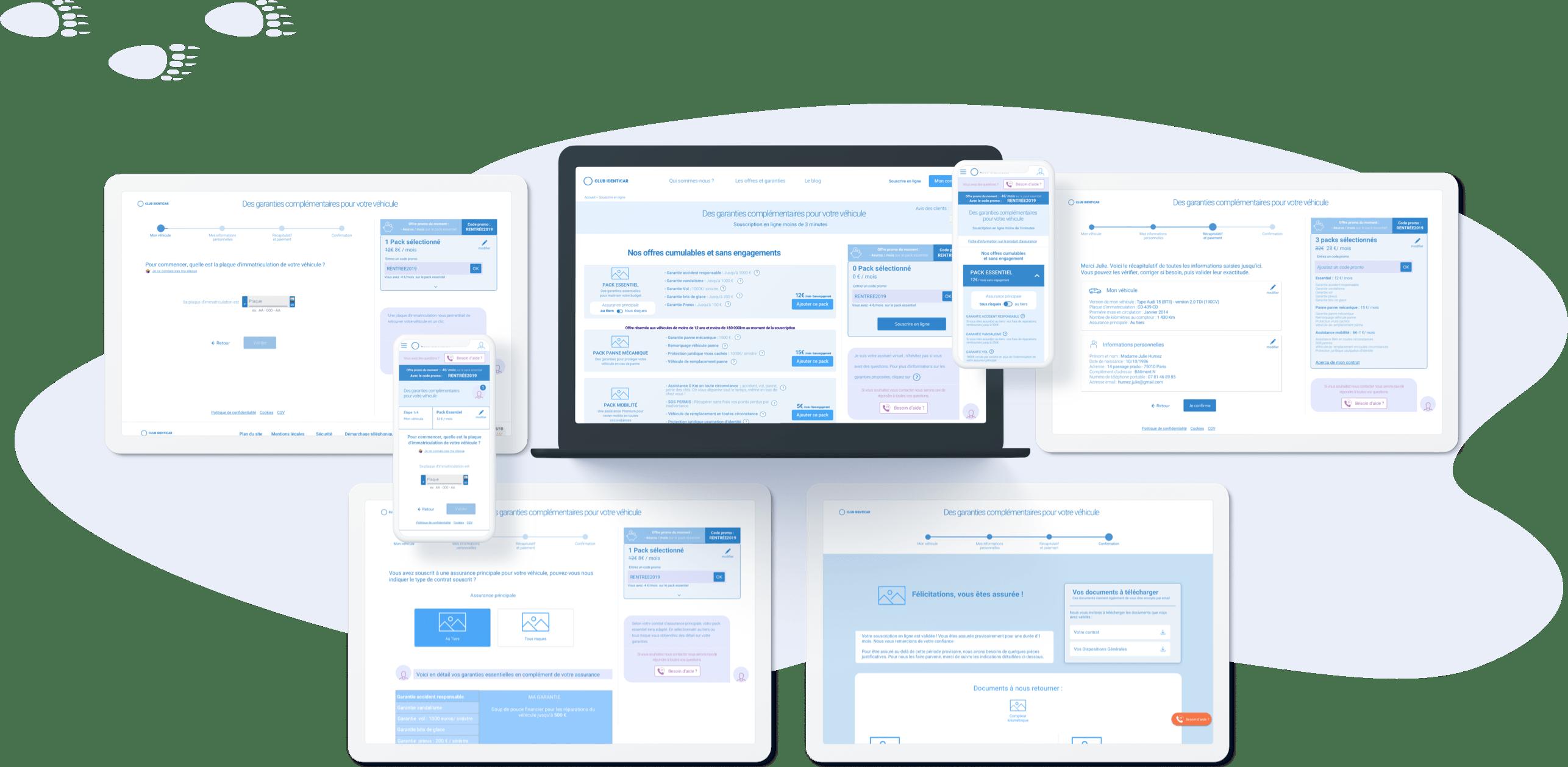 Club Identicar - Conception UX (parcours de vente, desktop et mobile)