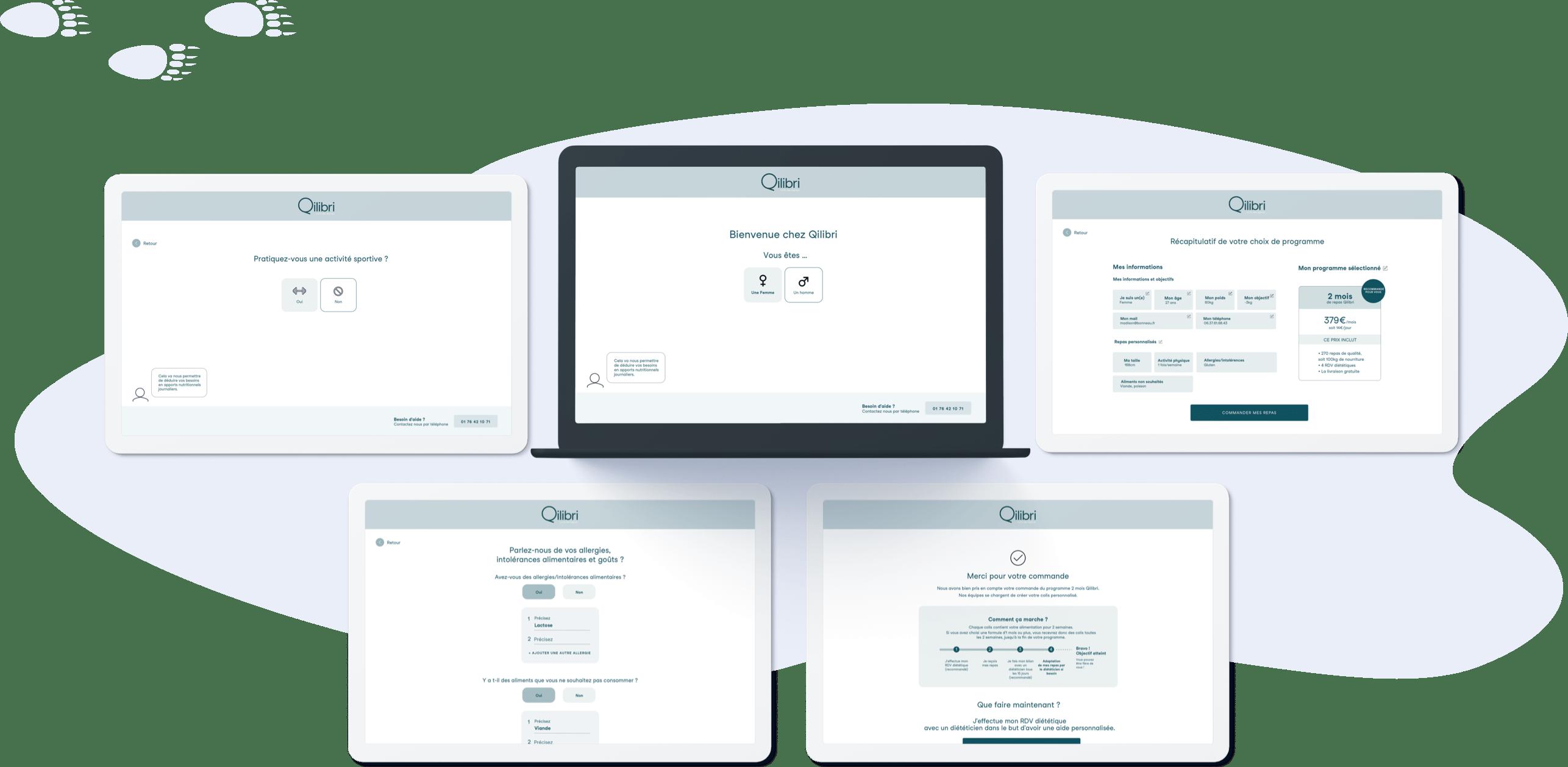 Qilibri - Conception UX parcours de vente (desktop et mobile)