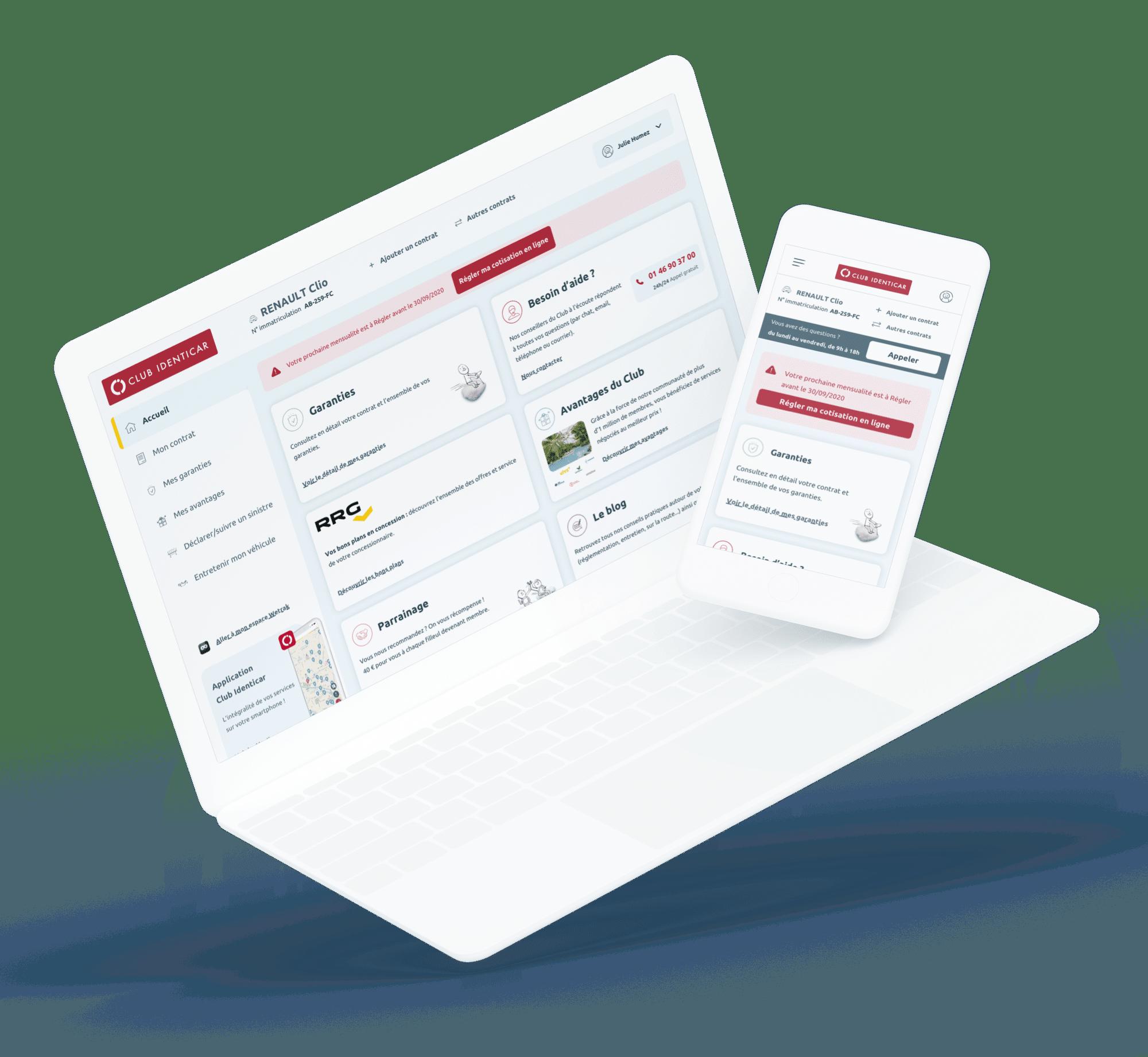 Club Identicar (Espace membre) - Site desktop et mobile