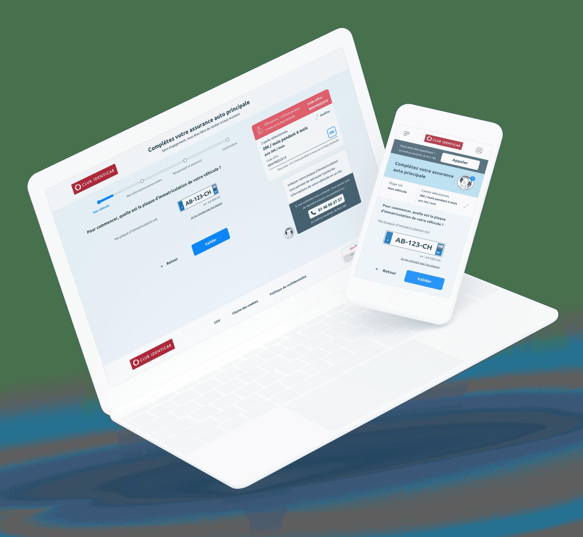 Club Identicar (Offre et Parcours de vente) - Site desktop et mobile