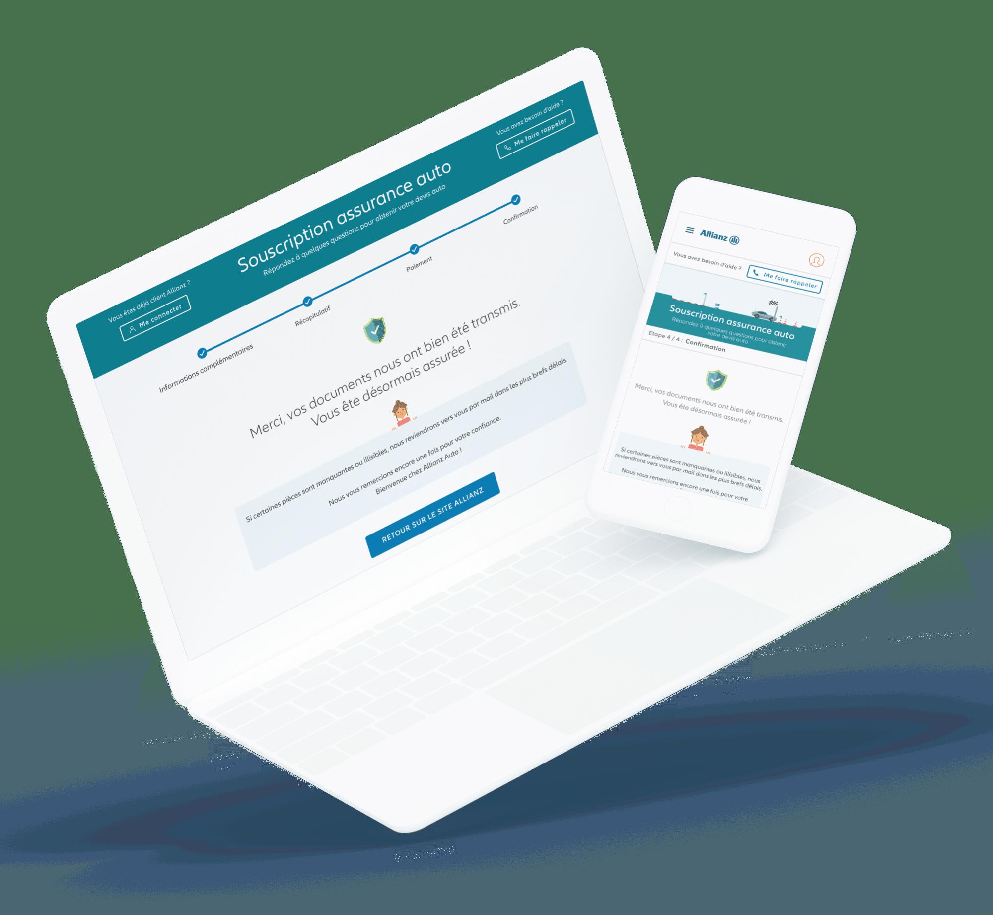 Allianz auto (Parcours de vente) - Site desktop et mobile