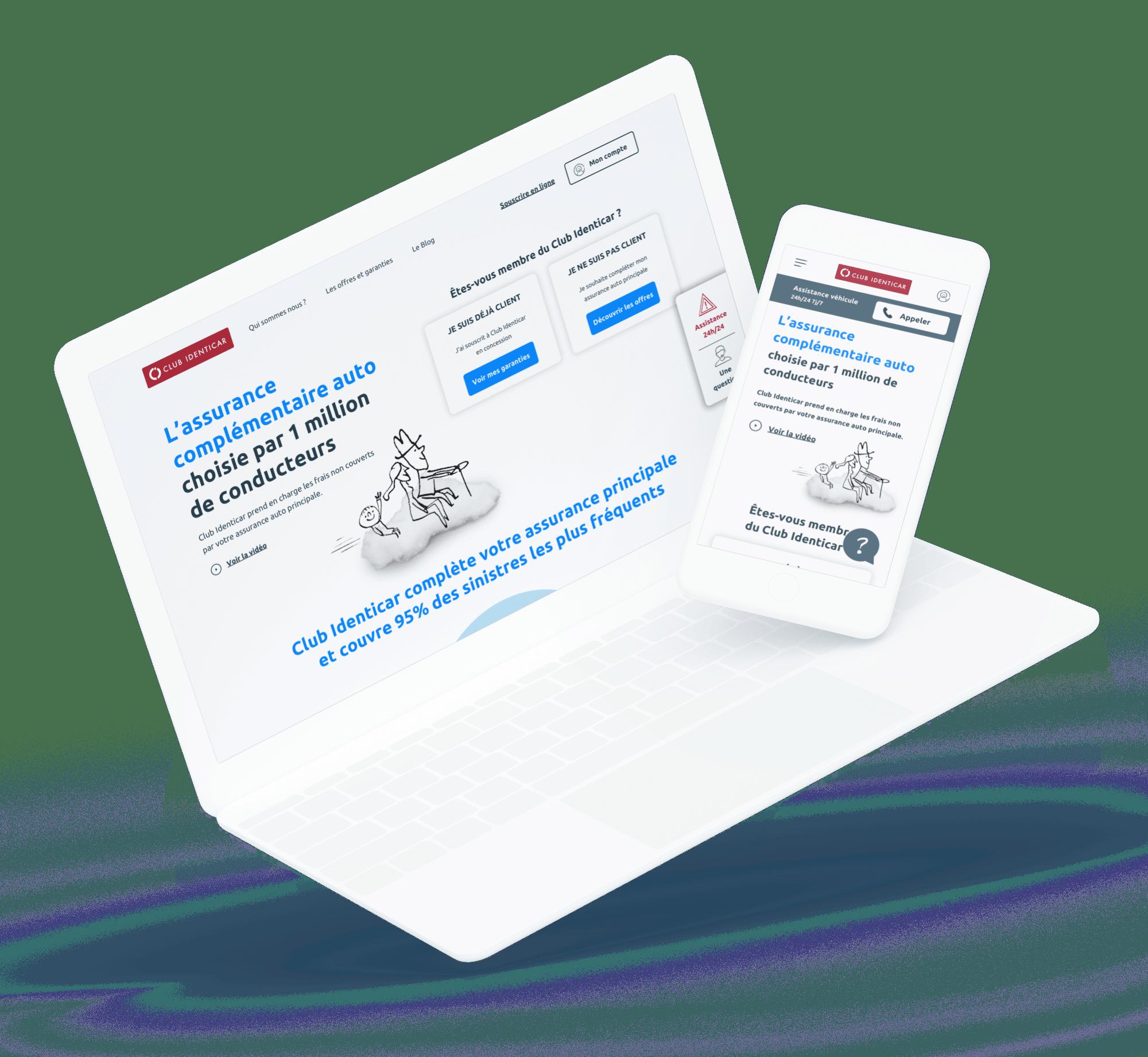 Club Identicar (Site vitrine B2C) - Site desktop et mobile