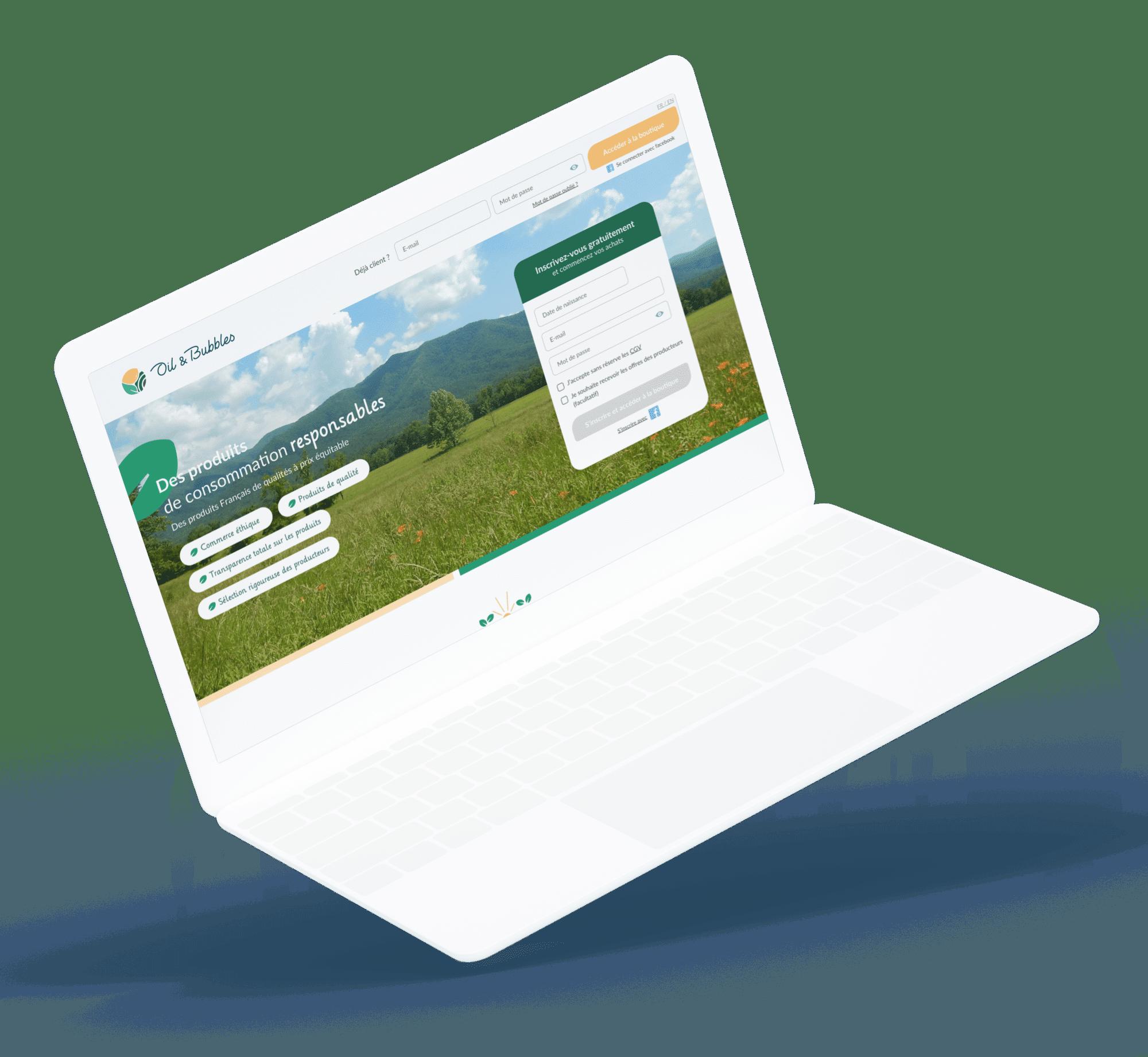 Oil & Bubbles (Site e-commerce) - Site desktop