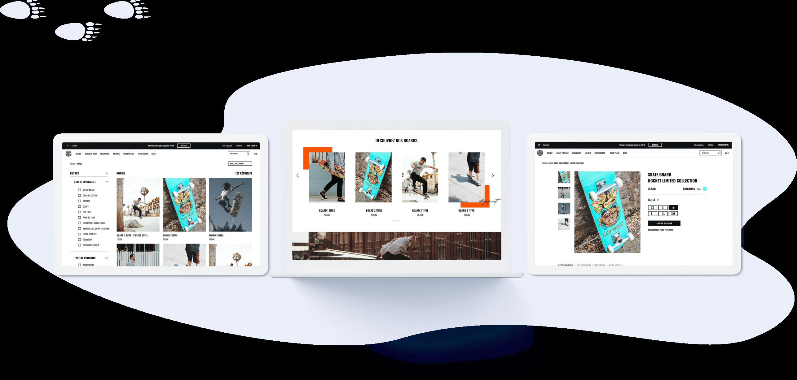 Pop-out Skate Shop - Conception UI (desktop)